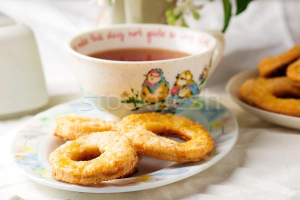 Ekşi krema bağbozumu gıda tablo taze kurabiye Stok fotoğraf © zoryanchik