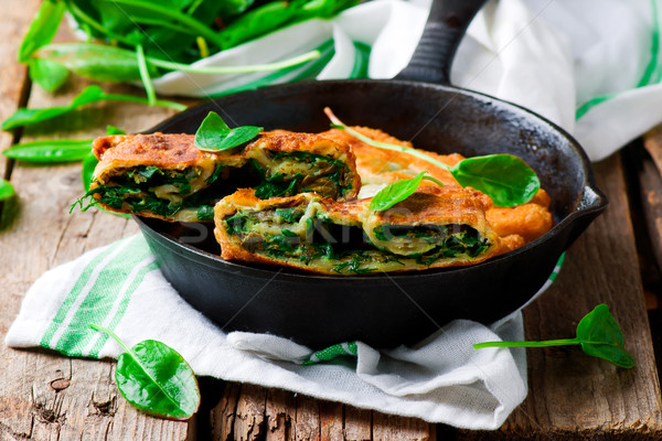 stuffed moldovan flatbreads dill and sorrel Stock photo © zoryanchik