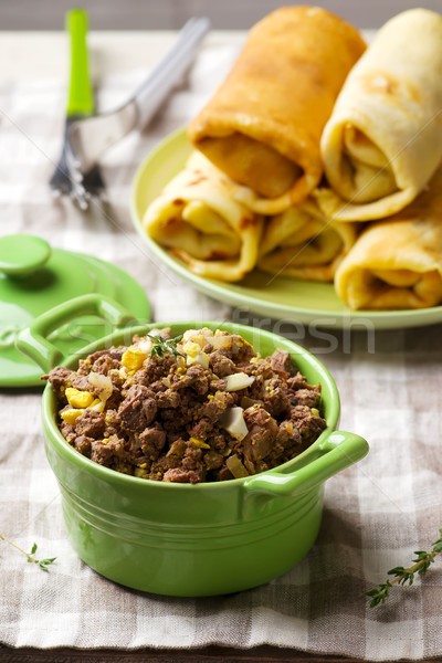 Liver stuffing in ceramic dish  Stock photo © zoryanchik
