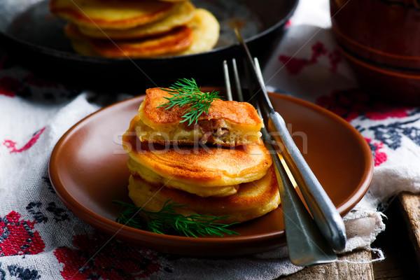 Pannenkoeken rustiek voedsel achtergrond vlees stijl Stockfoto © zoryanchik