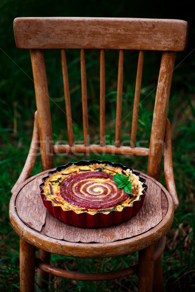 quiche with  swiss chard and sausage.selective focus Stock photo © zoryanchik