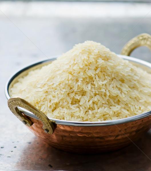 Bianco riso indian rame ciotola metal Foto d'archivio © zoryanchik