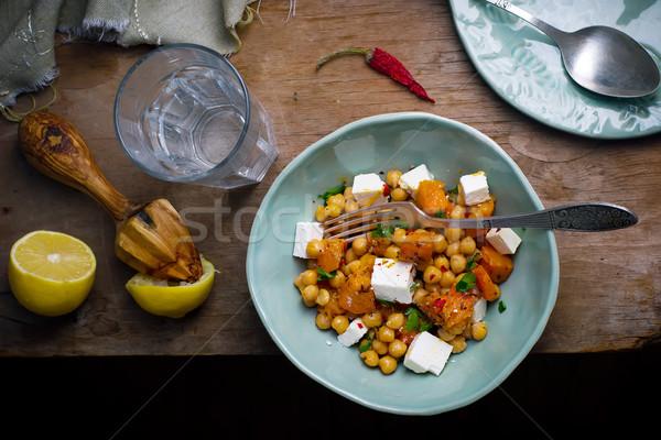 Saláta sütőtök feta egészséges étel stílus klasszikus Stock fotó © zoryanchik