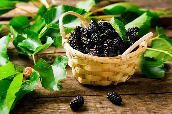 the berries of an organic mulberry  Stock photo © zoryanchik