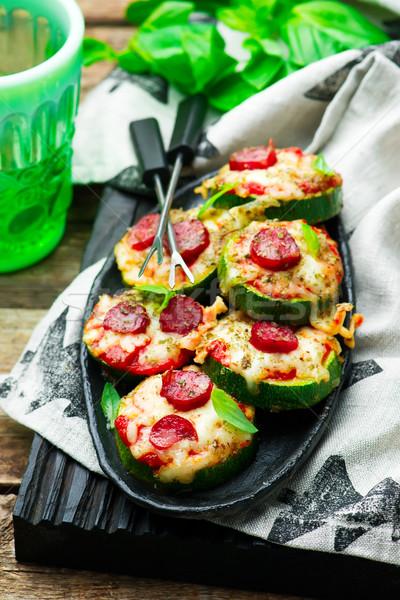 Cukkini pizza étel asztal sajt ebéd Stock fotó © zoryanchik