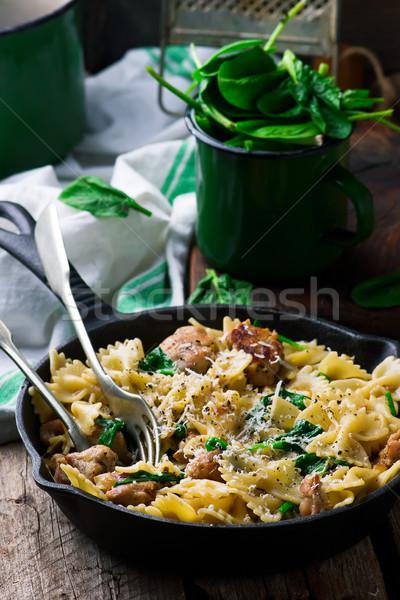 Frango salsicha queijo macarrão prato vegetal Foto stock © zoryanchik