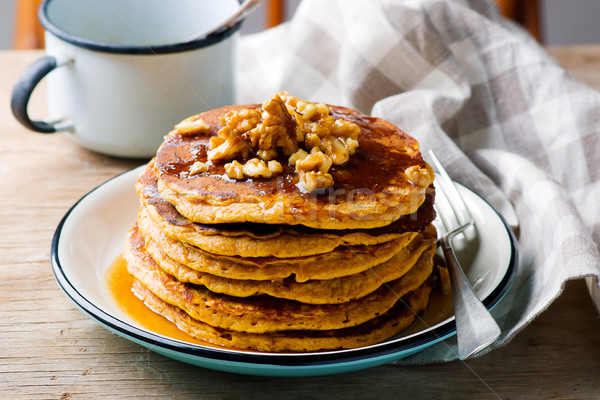 Stockfoto: Pompoen · pannenkoeken · siroop · selectieve · aandacht · ontbijt · lunch
