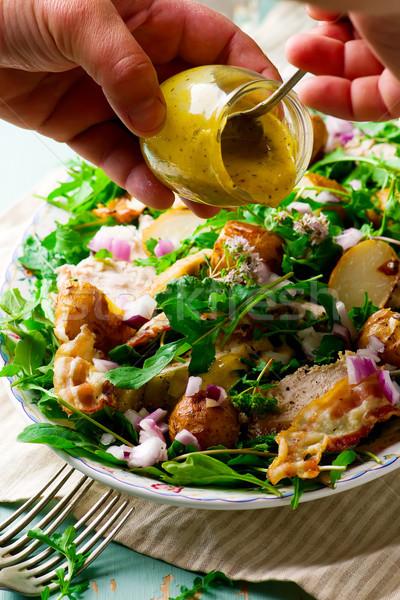 Insalata stile pesce verde cena pranzo Foto d'archivio © zoryanchik