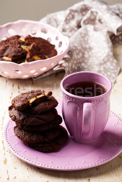 Manteiga de amendoim recheado rústico comida chocolate café da manhã Foto stock © zoryanchik