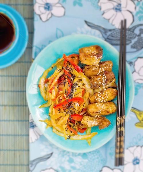 куриные овощей терияки соус Японский продовольствие Сток-фото © zoryanchik