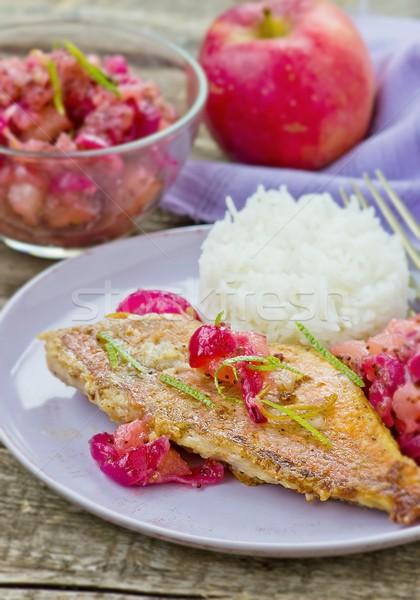 fried sea perch with apple chutney  Stock photo © zoryanchik