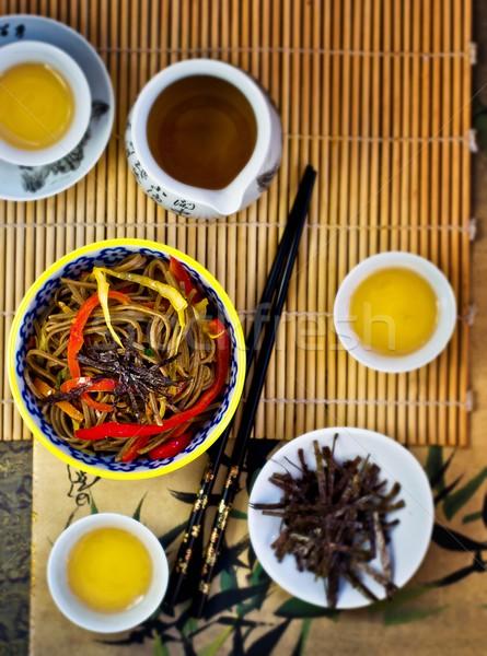 日本語 麺 野菜 緑茶 先頭 表示 ストックフォト © zoryanchik
