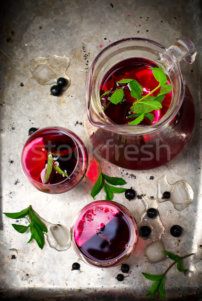 Stock photo: cold drink from blackcurrant