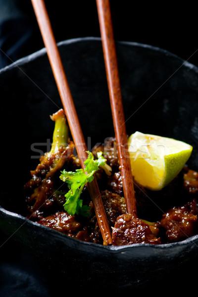 easy beef broccoli Stir-Fry. Stock photo © zoryanchik