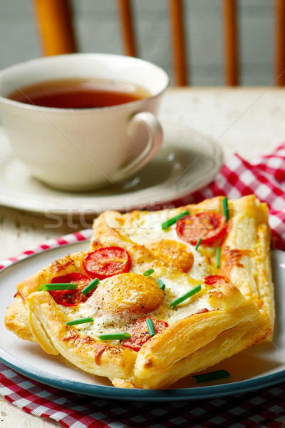 Stock photo: puff pastry breakfast egg tarts