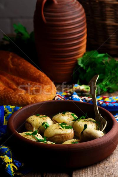 Baked mushroom with cheese.Georgian cuisine. style rustic. Stock photo © zoryanchik