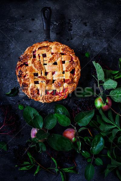 パイ リンゴ 黒 暗い 素朴な 写真 ストックフォト © zoryanchik