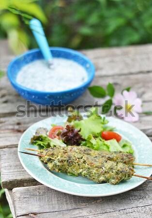Salade kaas feta kom voedsel groene Stockfoto © zoryanchik