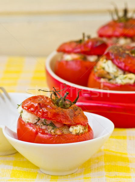 baked stuffed tomatoes Stock photo © zoryanchik