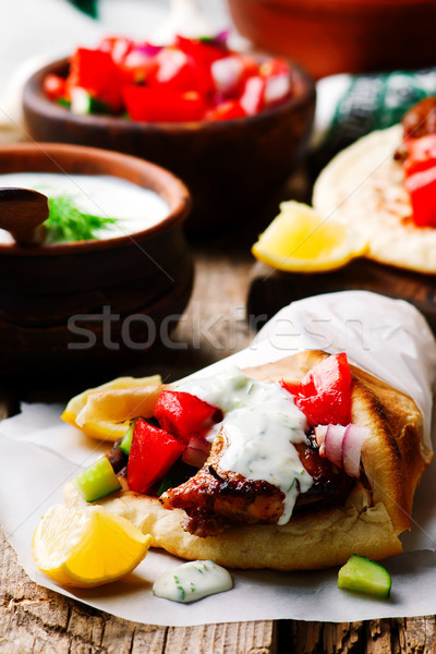 greek chicken gyros with tzatziki Stock photo © zoryanchik