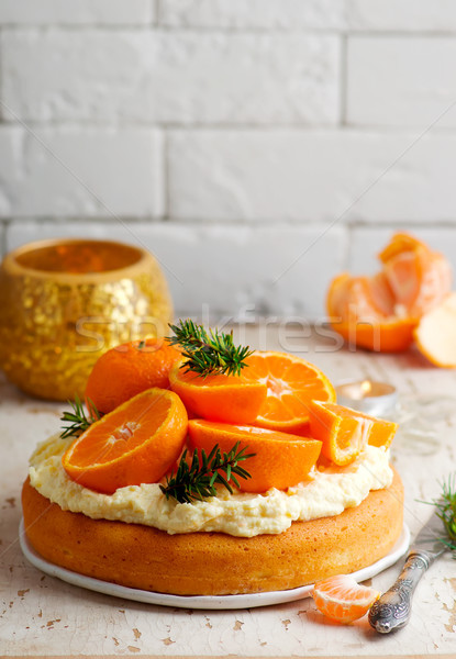 新鮮な タンジェリン ケーキ クリーム チーズ ストックフォト © zoryanchik