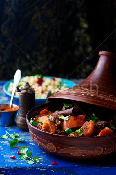Cordero calabacín albaricoque rústico atención selectiva carne Foto stock © zoryanchik