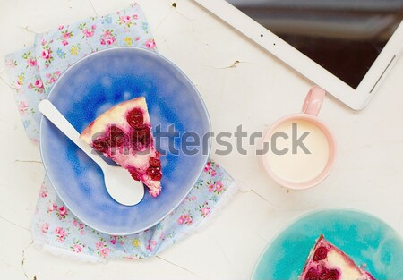 cottage cheese pudding with cherry, a milk cup for a breakfast on . Stock photo © zoryanchik