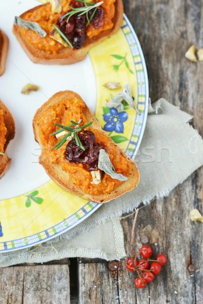 Bruschetta ekmek sonbahar sağlıklı İtalyan mutfak Stok fotoğraf © zoryanchik