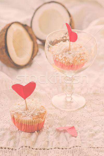 ココナッツ ケーキ バレンタインデー 結婚式 ストックフォト © zoryanchik