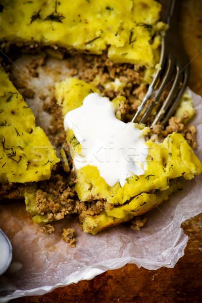 Patates puding üst görmek seçici odak Stok fotoğraf © zoryanchik