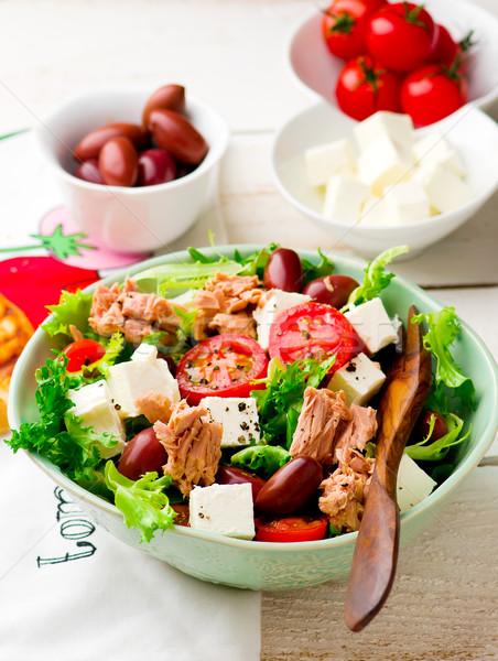 Tomato and Endive Salad with Tuna. Stock photo © zoryanchik