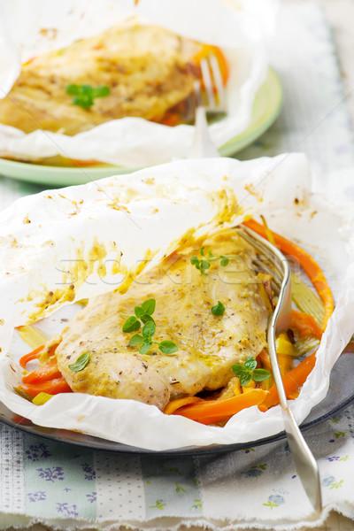 鶏 胸 羊皮紙 食品 ディナー ストックフォト © zoryanchik