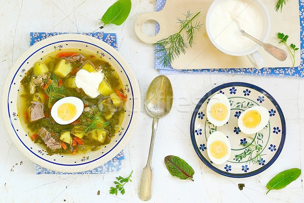 Uovo panna acida zuppa piatto tavola primavera Foto d'archivio © zoryanchik