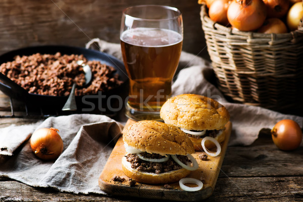 sandwich with ground  beef and onion Stock photo © zoryanchik