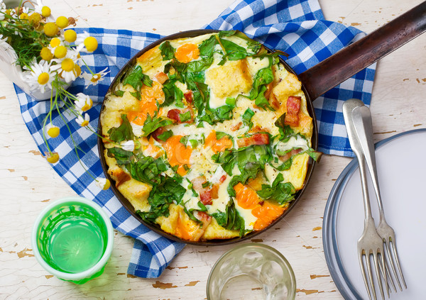 Skillet Strata with Bacon, Cheddar, and Greens  Stock photo © zoryanchik