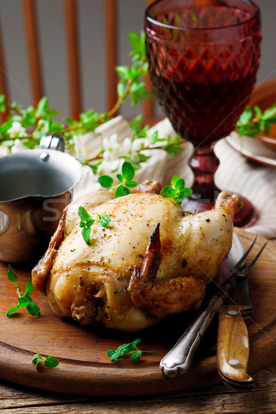 Roasted chicken in microwave Stock photo © zoryanchik
