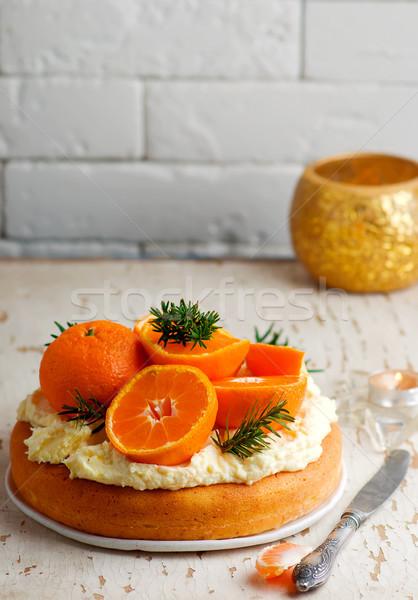Foto stock: Fresco · tangerina · bolo · creme · queijo
