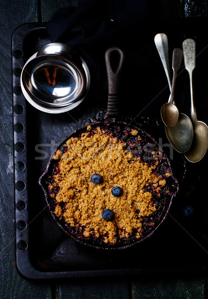 Crumble with a plum and berry. style vintage Stock photo © zoryanchik