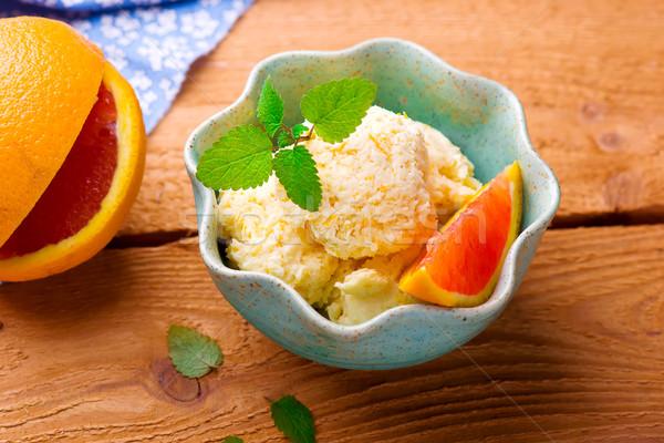 frozen orange yogurt Stock photo © zoryanchik