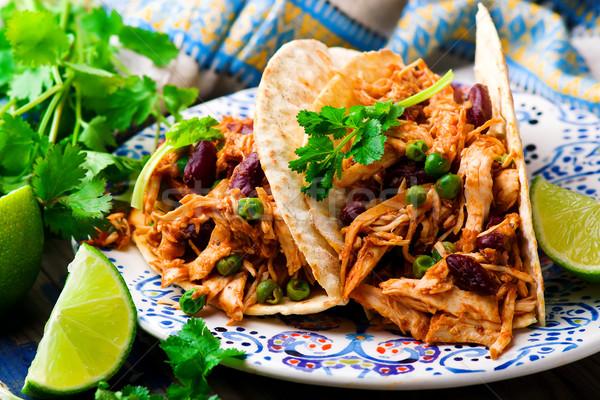 Slow Cooker Shredded Chicken Tex-Mex Stock photo © zoryanchik