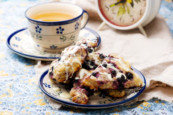 Blueberry scone  with Cinnamon Cream Cheese Glaze Stock photo © zoryanchik