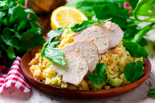 Chicken and Couscous Salad with Herbs. Stock photo © zoryanchik
