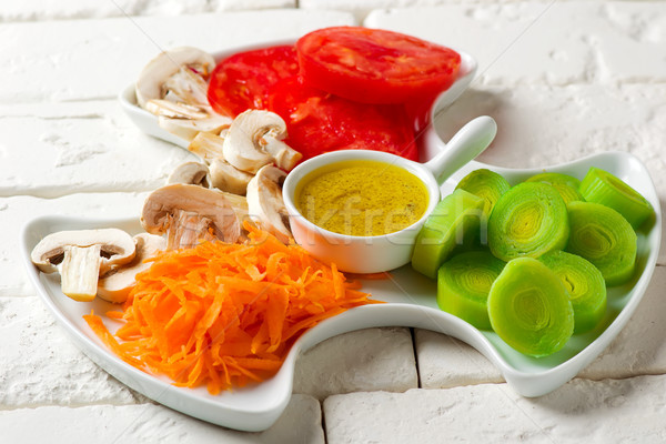 Crudites Salad with classic vinaigrette Stock photo © zoryanchik