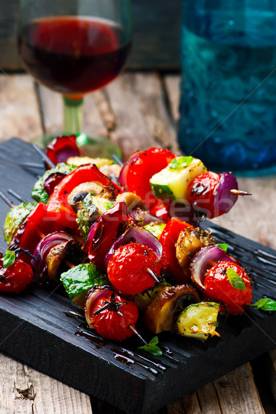 herbed Grilled vegetables skewers Stock photo © zoryanchik