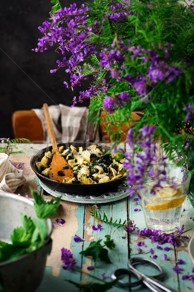 orecchiette butter braised nettles.food gathering Stock photo © zoryanchik