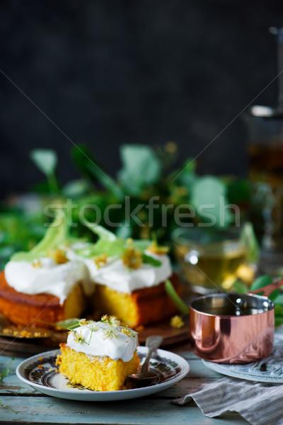 Pachnący kwiat słońce ciasto tle Zdjęcia stock © zoryanchik