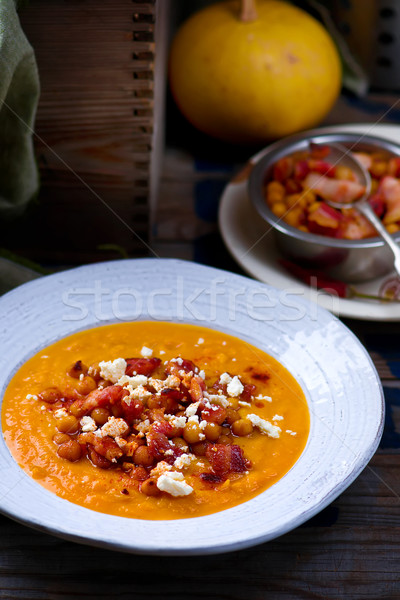 Calabaza sopa tocino feta rústico estilo Foto stock © zoryanchik