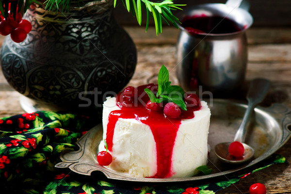 Lemon Mousse with Cranberry Sauce Stock photo © zoryanchik