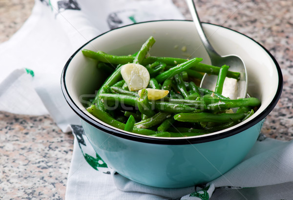 braised green beans with garlic. selective focus Stock photo © zoryanchik