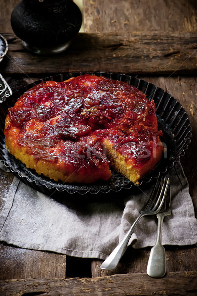 Rhubarb upside down cake Stock photo © zoryanchik